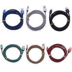 마이크로 USB 케이블 V8 금속 꼰 나일론 휴대 전화 충전 코드 2.0 데이터 동기화 충전기 케이블 삼성 갤럭시 안드로이드 전화