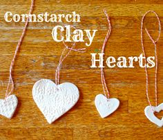 DIY Cornstarch Heart Necklaces!!  Super cute and great projects for kids!  Only costs about $.50 each!