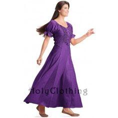 Purple Fuchsia Haley Puff Sleeve Lace-Up Renaissance Peasant Corset Dress