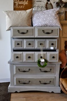 Tall Dresser finished in Paris Grey French Linen & by SandpaperIN, $475.00
