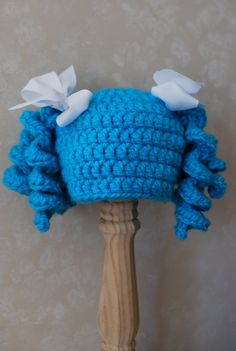 Crochet Pigtail Curls Hat Wig with Ribbons Lalaloopsy Mittens on Etsy, $26.95