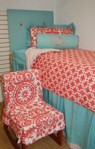 Coral Bliss dorm bedding! | Duvet $250, Headboard $150, King Sham $90, Bolster $80, Dust Ruffle $150, Chair Cover $100