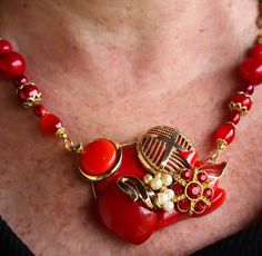 Red buttons Silentcow Creations etsy