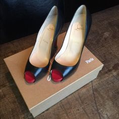 Louboutin very prive size 8 (38). Worn only once. Bottoms rub off easily. Can provide proof of purchase from bergdorf. Comes with bag, box, and heel tip replacements. Louboutin Shoes Heels