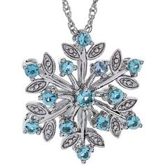 Sterling Silver Simulated Blue Topaz Snowflake Pendant Necklace