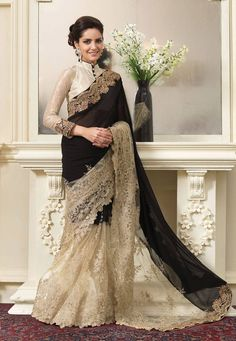 Buy Black and Beige Faux Georgette and Net Saree with Blouse online, work: Embroidered, color: Beige / Black, usage: Party, category: Sarees, fabric: Georgette, price: $149.00, item code: SYG332, gender: women, brand: Utsav