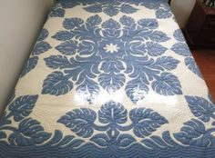 Amazon.com - Hawaiian quilt 100% hand quilted/hand appliqued full/queen bedspread 80x80 New
