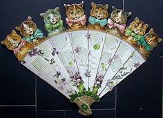 """Fan / Calendar in eight leaves ,each size about 290 x 60 mm extending to about 420 mm when fully extended ,published by Raphael Tuck ,believed to be for the year 1904 ,titled """" Friends of Loui. Antique Fans, Vintage Fans, Hand Held Fan, Hand Fans, Hot Flash Remedies, Vintage Calendar, Hot Flashes, Bees Knees, Paper Lanterns"""