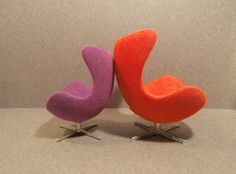 Arne Jacobsen Egg chairs by Minimii and Brio by pubdoll, via Flickr