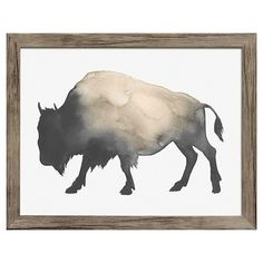 "Framed Watercolor Buffalo 14""x11"