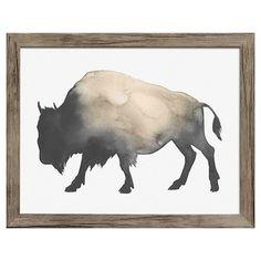 "Framed Watercolor Buffalo 14""x11"