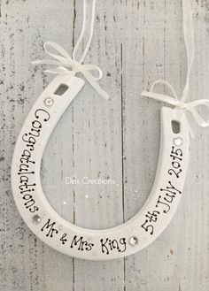 Personalised Ceramic Lucky Horseshoe Wedding Gift, £10.00