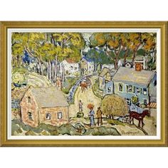 """Global Gallery 'A New England Village' by Maurice Brazil Prendergast Framed Painting Print Size: 34.56"""" H x 46"""" W x 1.5"""" D"""