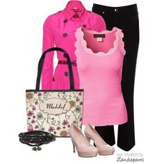 Pink and Black (whimsical flowers) by zandiepants on Polyvore. *** Join our group on #Polyvore to find wonderful products and designs by #Indie Designers. http://polyv.re/10nbeiS #treasurechest #indiedesigner #indieartist #zandiepants #fashion
