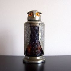 Vintage MidCentury Amber Glass & Metal Owl by ModernRetroHome  Bummer, it's sold...would love to find one like this someday!