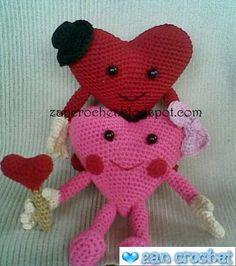 Zan Crochet: Valentine Heart Couple - another great free amigurumi pattern from Zan Merry. Crochet Amigurumi Free Patterns, Easy Crochet Patterns, Crochet Dolls, Crochet Designs, Valentine Heart, Valentine Crafts, Printable Valentine, Homemade Valentines, Valentine Wreath