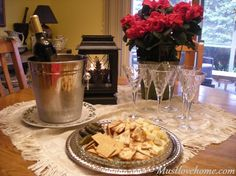 Style a simple table for appetizers and wine