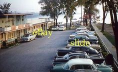 Lake Front Motel Cars in Parking Lot 2 35mm Slides 1959 Kodachrome