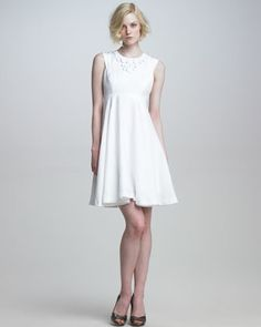 """Daisy Swingy Dress by Milly at Neiman Marcus."" another white but the cut is so 60's ...cute"
