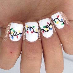 instagram @just1nail   Christmas light nails ! Inspired by @lifeisbetterpolished #nailart