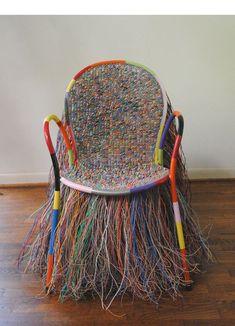 """mobilier, sculpture US : Joel d'Orazio, 2011, fauteuil """"Acid queen"""", fils plastiques, sièges, style africain, 2010s"""