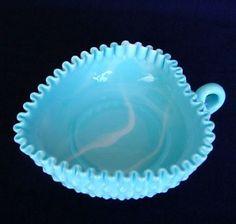 Fenton Blue Marble Hobnail Heart Shaped Handled Relish Dish