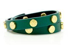 Tory Burch Saffiano Double Wrap Logo Stud Bracelet