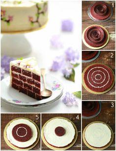 Receta Red Velvet y Tutorial para presentación de pastel simulando enladrillado.