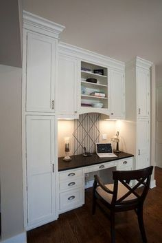 19 Trendy Ideas Home Office Cabinets Built Ins Desk Areas Office Built Ins, Built In Desk, Built In Cabinets, Custom Cabinets, Wall Cabinets, White Cabinets, Large Cabinets, Shaker Cabinets, Kitchen Cabinets