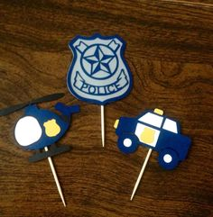 17 Police Cop Helicopter Badge CUP CAKE TOPPERS  BIRTHDAY PARTY FAVORS  PICKS…