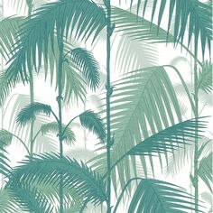 Palm Jungle behang Contemporary Restyled Cole And Son Cole And Son, Bathroom Plants, Green Wallpaper, Bathroom Wallpaper, Blue China, Delft, Shades Of Purple, Leaf Prints, Designer Wallpaper