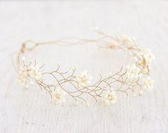 Adornos para el pelo y tocados - Mujer diadema, tiara floral, dama de honor - hecho a mano en DaWanda.es