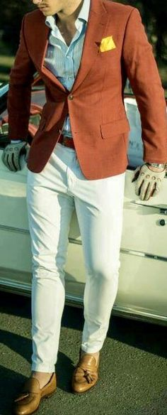 Orange blazer with yellow pocket square and white pants. White Pants Outfit, Dress Slacks, Made To Measure Suits, Orange Blazer, Blazer With Jeans, Bespoke Suit, Tailored Suits, Jean Outfits, Wedding Suits