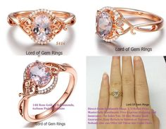 Floral 6x8mm Oval Pink Morganite Diamonds,14K Rose Gold Engagement Wedding Ring