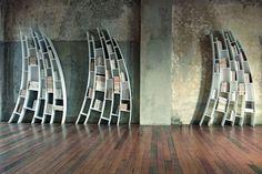 Book shelves are typically boring rectangular affairs. Not so in these Alice-in-Wonderland-esque shelves from Saba Italia. New for the Prima Quarto Gaudi, Wooden Bookcase, Italia Design, Shelf Design, Italian Furniture, Furniture Manufacturers, Book Nooks, Furniture Collection, Architecture