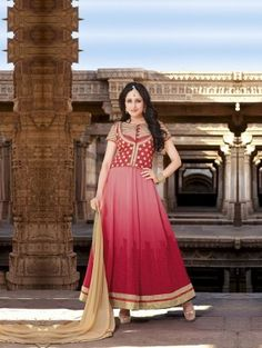 Pink Georgette Anarkali Suit with Embroidery Work