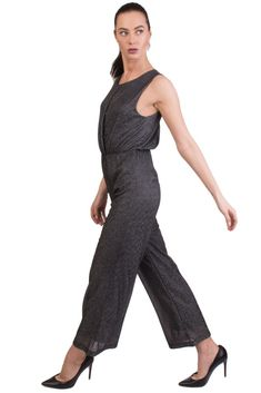 147f1042682 GIORGIA   JOHNS Wrap Jumpsuit Size S Stretch Shiny Wide Leg Made in Italy   fashion