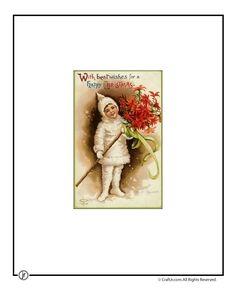 Printable Vintage Christmas Cards Christmas Pixie Vintage Postcard – Craft Jr.