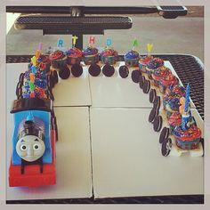 My son's third bday Thomas cake train