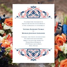 "Printable Wedding Invitation Template ""Grace"" Coral Reef & Marine Navy Blue 