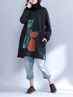 Plus Size Casual Women Cat Plaid Printed Sweatshirts