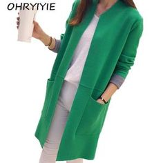 8583101c76 Lisipieces-Winter Long Sleeve Loose Knitted Cardigan female Sweaters Long  Coat Long Knit Cardigan