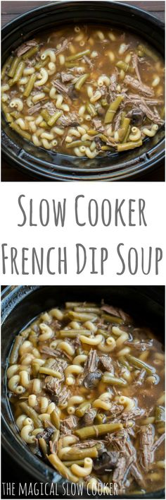 Slow Cooker French Dip Soup - The Magical Slow Cooker Crock Pot Soup, Crock Pot Slow Cooker, Crock Pot Cooking, Slow Cooker Recipes, Crockpot Recipes, Cooking Recipes, Crock Pots, The Magical Slow Cooker, French Dip