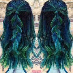 Some green and blue hair inspo by @haileymahonehair #inspirehairstyles