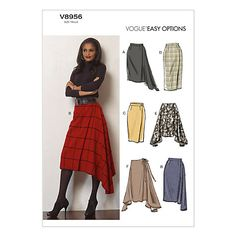 "Vogue V8956 (Wool Flannel, Gabardine, Crepe)---A: 45"": 2...60"": 1 3/8---B: 45"": 2 1/2...60"": 2---Fusible Interfacing: 1 1/4---Notions: Two Hook and Eye Closures"