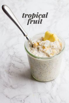 Tropical Fruit Overnight Oats ⅓ cup plain Greek yogurt ½ cup (heaping) rolled oats ⅔ cup full-fat coconut milk (in the can) 1 tablespoon chia seeds or ground flax meal ½ teaspoon vanilla extract Pinch of salt 0-2 tablespoons honey or maple syrup ⅓ cup chopped fresh or canned pineapple ⅓ cup chopped ripe mango ½ ripe banana, chopped or mashed 2 tablespoons unsweetened flaked coconut
