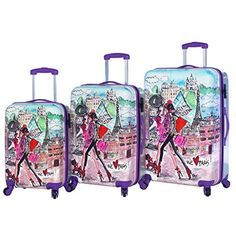 Mia Toro Paris Fashion Hardside Spinner Luggage 3 PC Set * Click on the image for additional details.