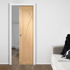 Single Pocket Pesaro Oak Flush Panel Door, Prefinished. #pocketdoor #internalpocketdoor #slidingpocketdoor