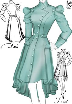 Gorgeous Victorian Spring Trench Coat by Amber Middaugh. Beautiful sketch may try to make someday. Steampunk Costume, Steampunk Clothing, Steampunk Fashion, Mode Outfits, Retro Outfits, Vintage Outfits, Gothic Lolita Fashion, Victorian Fashion, Retro Fashion
