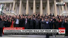 Dec 11, 2014 Congressional staffers walk out to protest the grand jury decisions in the death of Michael Brown and Eric Garner